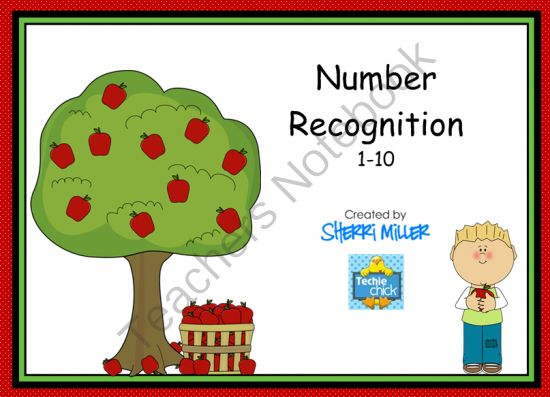 FREE apple-themed Smartboard lesson practicing number recognition 1-10.