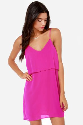 Tier, There, and Everywhere Magenta Dress