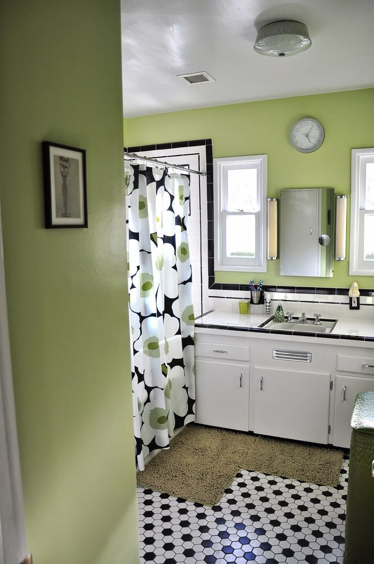 Mint green shower curtain and rugs - Black White And Green Bathroom With Marimekko Shower Curtain
