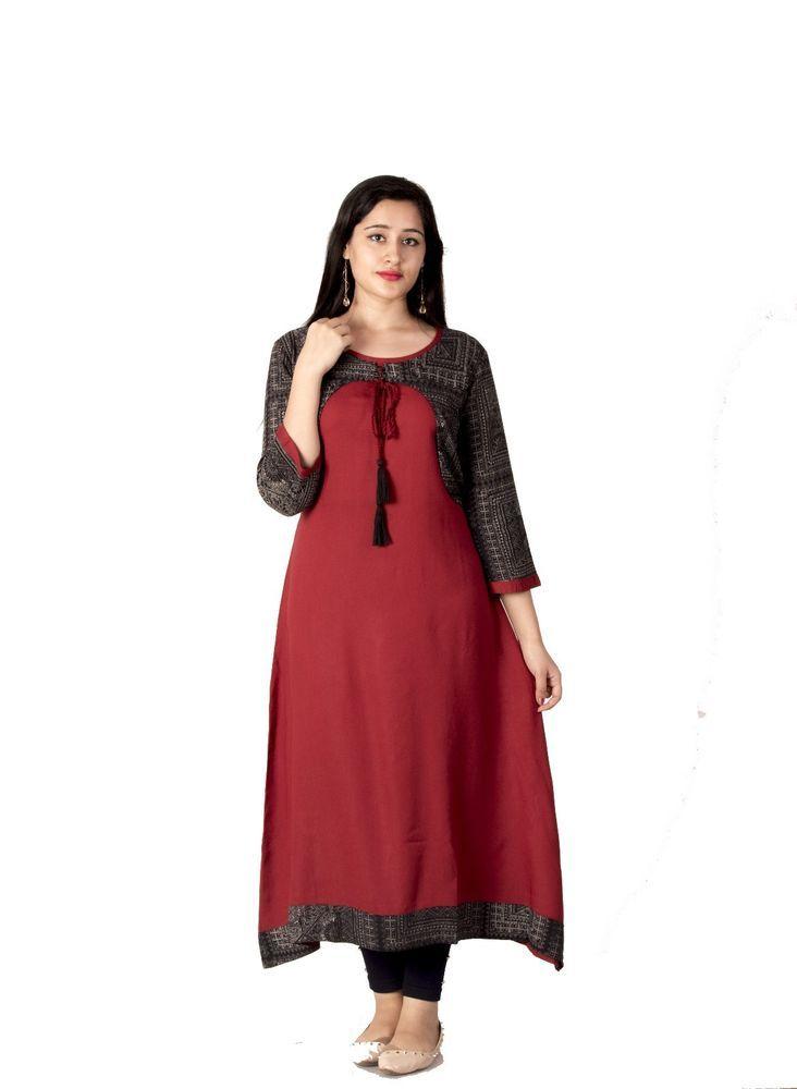 5cf06f1d04e Meera Fab Rayon Womens Girls Maroon Party Wear Long Kurti  fashion   clothing  shoes  accessories  womensclothing  tops (ebay link)