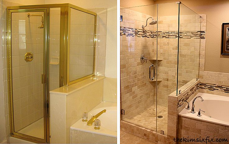 Master Bathroom REVEAL: Links to how she redid the shower, including demo, pouring a new shower pan, tiling, adding shower shelves, replacing fixtures, preparing for frameless shower door etc.