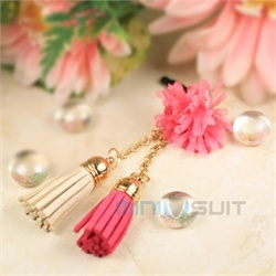 Hello there you cute cell phone charm! This Double Tassel PomPom Puff with Crystal Accent dust plug adorns your mobile phone, mp3 player, Kindle, iPad, Nook, or any other mobile electronic device with a 3.5mm earphone jack (standard earphone jack si