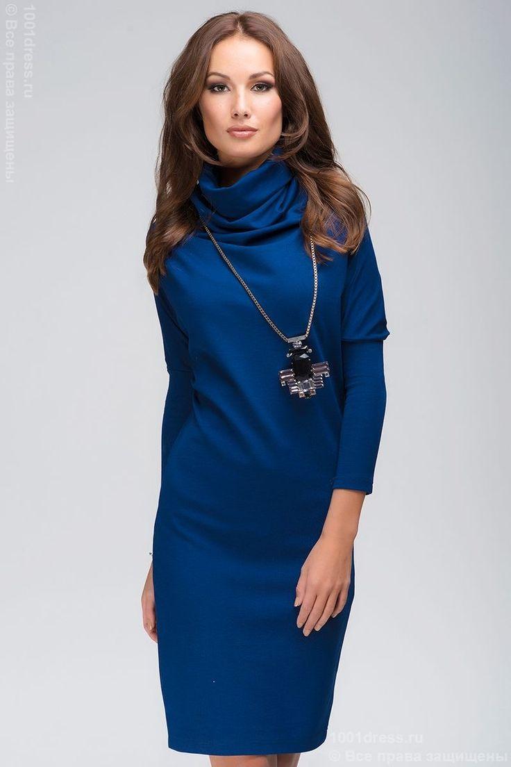 Платье-свитер свободного кроя темно-синее , синий в интернет магазине Платья для самых красивых 1001dress.Ru