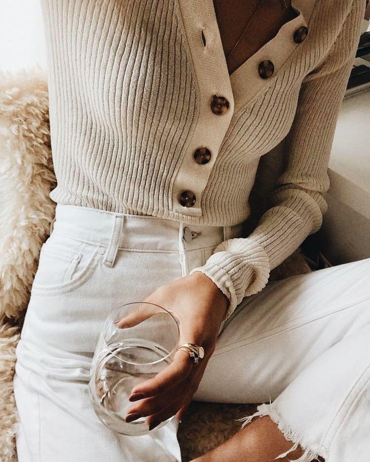 white denim & ribbed beige sweater. △@BIBIJOUX
