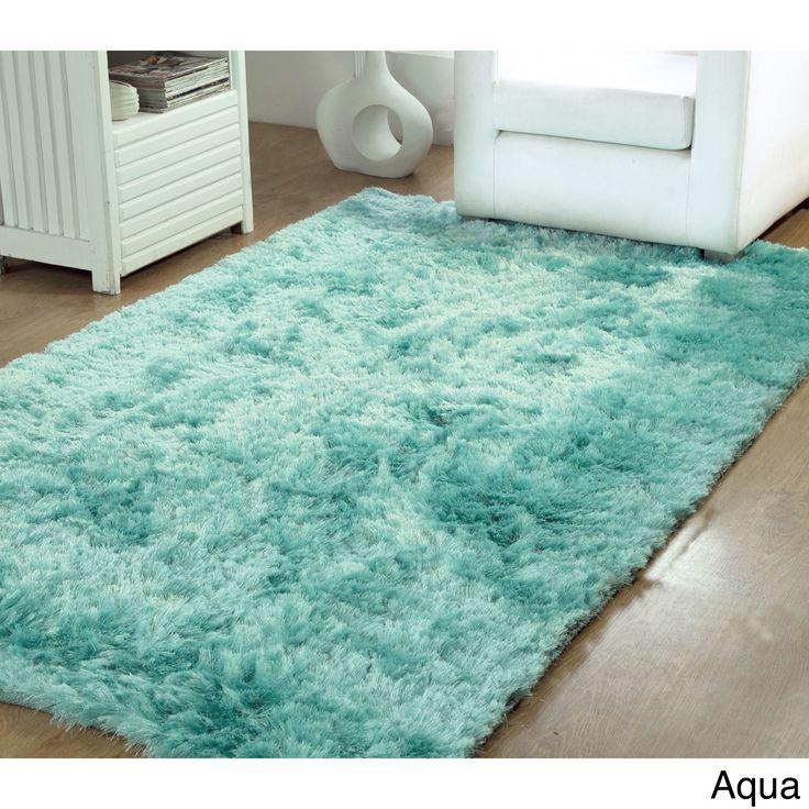 Affinity Home Silken Luxurious Shag Rug (5u0027 X 8u0027) (Aqua)