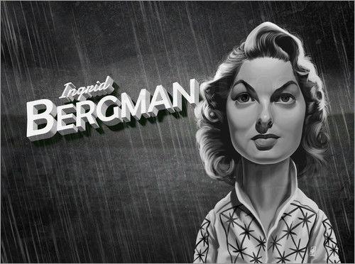 Rob Snow | caricatures - Ingrid Bergman art | decor | wall art | inspiration | caricatures | home decor | idea | humor | gifts