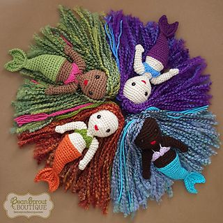 Colorful and fun, these crochet mermaid dolls have lots of personality. Customize the tail, bra top, hair, and skin-tone colors for a truly one-of-a-kind doll. These adorable mermaids make a great gift or cuddly friend for your little sprout.