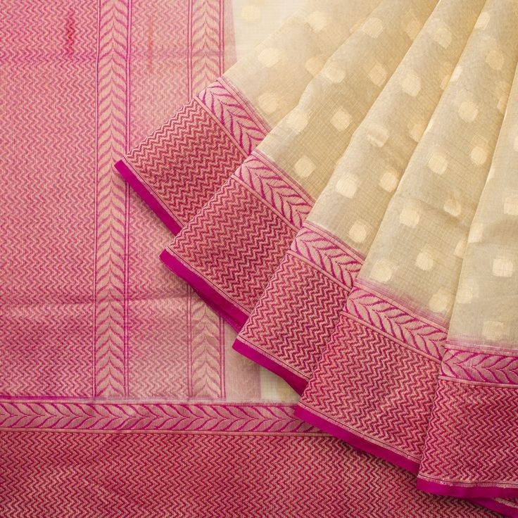 Shivangi Kasliwaal Handwoven Banarasi Kora Silk Sari 1012928 - / Shivangi…
