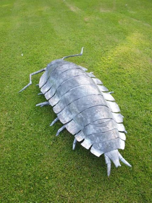 Steel Garden bird and animal #sculpture by #sculptor Will Carr titled: 'Woodlouse' #art