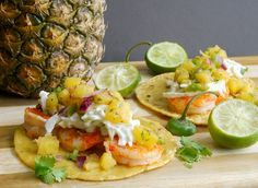 Grilled Shrimp Tacos with Grilled Pineapple Jalapeno Salsa from NoblePig.com