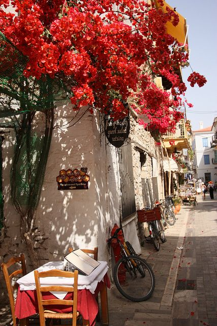 Street scene in Nafplio, Peloponnese, Greece.: Peloponn, Favorite Places, Dreams, Side Street, Beautiful Places, Beautiful Greece, Cafe, Street Scene, Flower