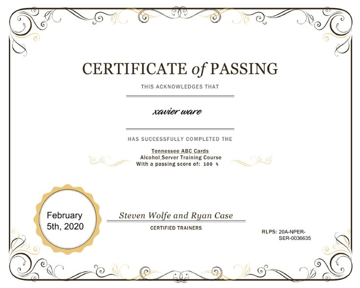 tennessee certificate abc completion