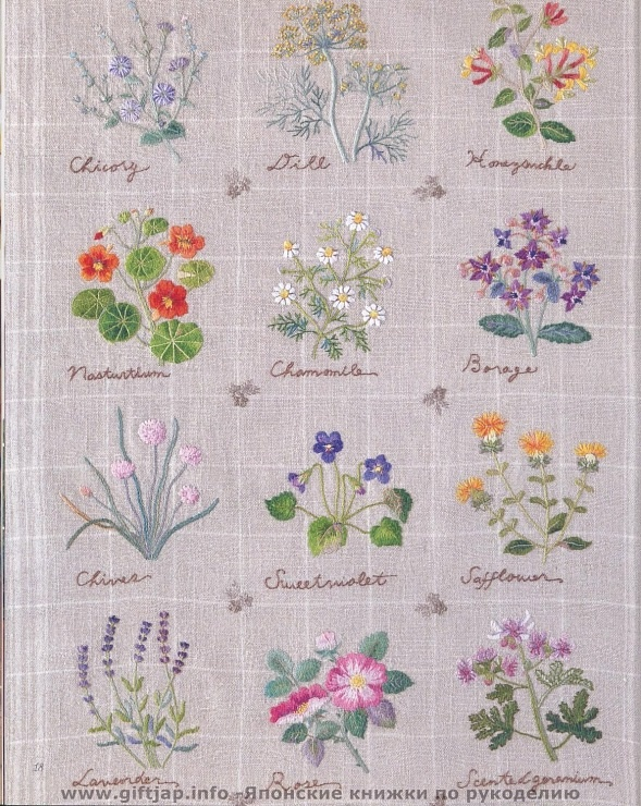 Herbs Embroidery. Can be embroidered either on place mats or coasters or even kitchen linen.