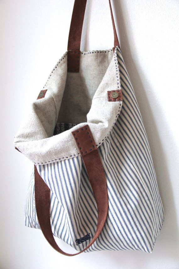 Overall Tote Antique Ticking Stripe Cotton Irish por rizomdesigns