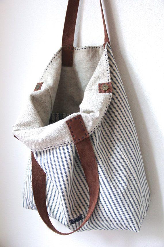 Overall Tote Antique Ticking Stripe Cotton Irish por rizomdesigns