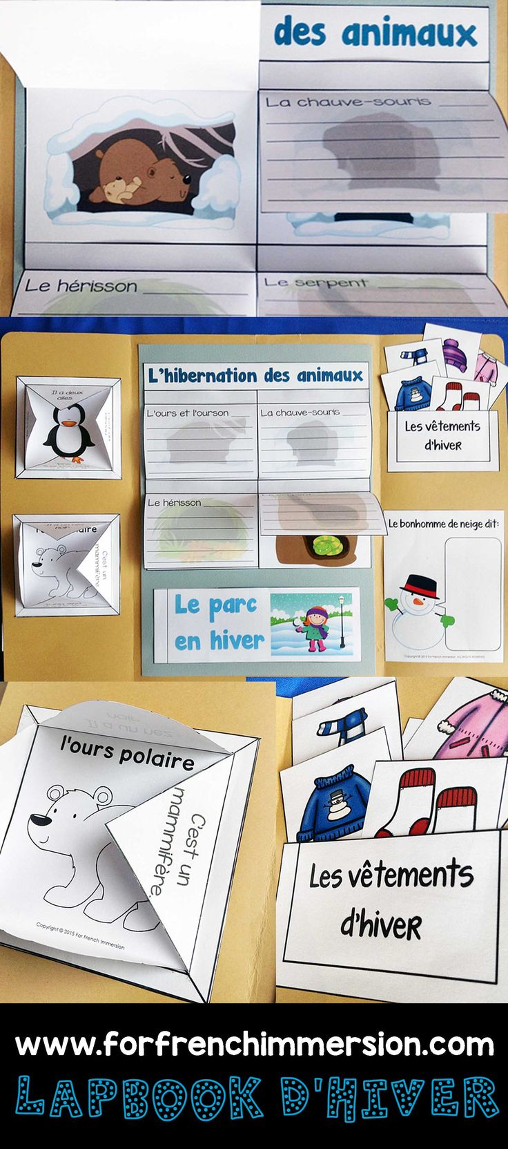 French Winter Lapbook – lapbook d'hiver: fun, interactive activities to practive vocabulary for winter clothing, writing prompts, hibernation of animals flaps, and more!