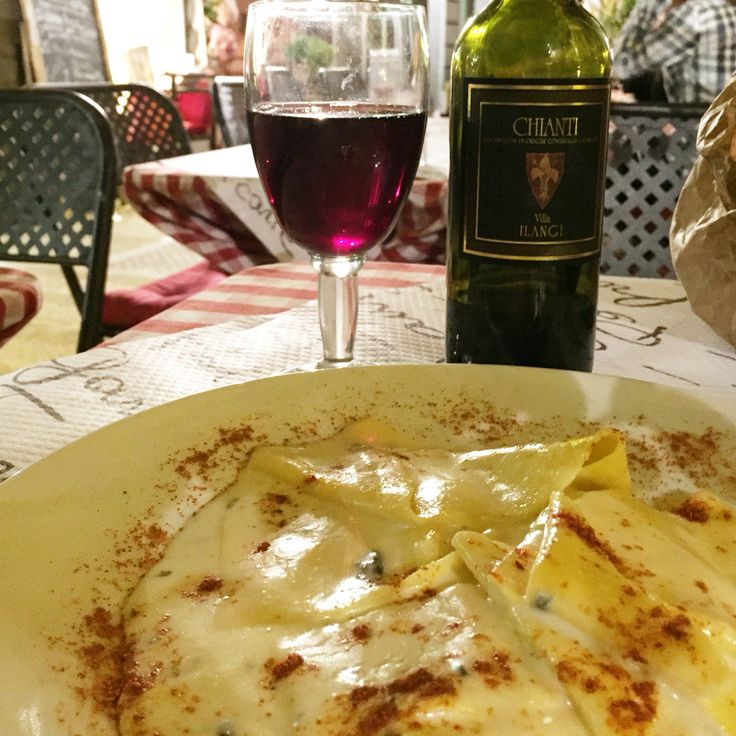 GAME ON: Chianti and the biggest pappardelle I've ever had.