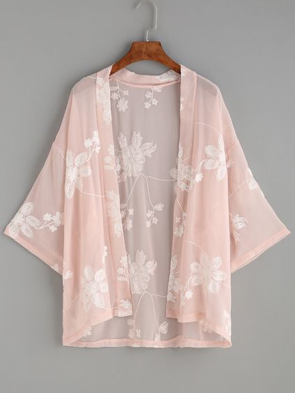 Pink Flower Embroidered Kimono Mobile Site