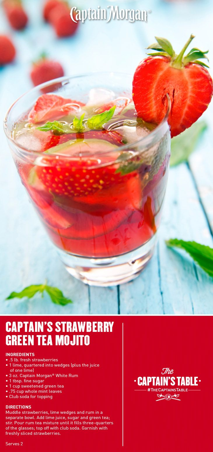 Captain s strawberry green tea mojito a refreshing blend for Green alcoholic drinks recipes