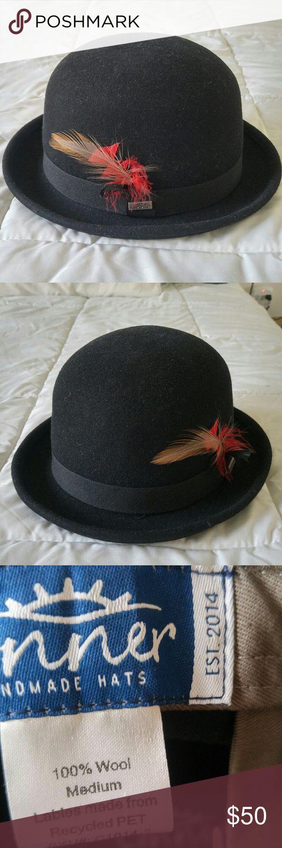Black Bowler Hat Felt, with hidden pocket. Corner Accessories Hats