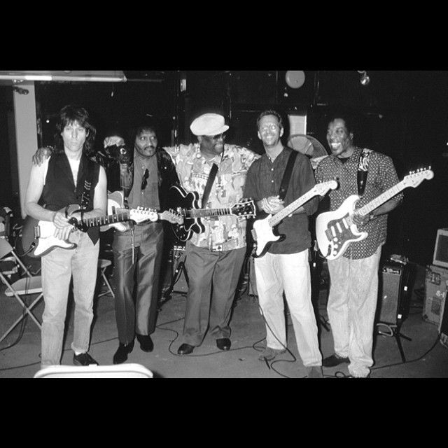 Jeff Beck, Albert Collins, B.B. King, Eric Clapton & Buddy Guy. Apollo Theater, NYC-June 1993. Three Strats, a Tele and a Gibson.