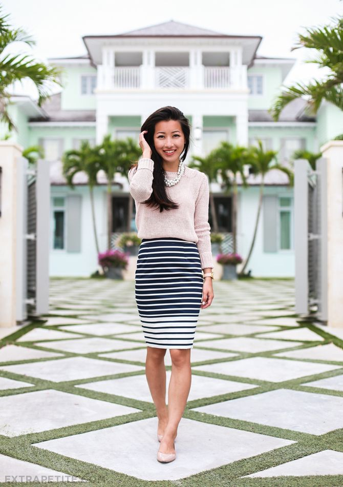 spring work outfit // blush pink sweater, striped pencil skirt, pearls, neutral flats