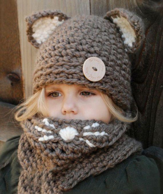 """Ensemble """"petit chat"""", bonnet à oreilles et son snood , réalisé en crochet - de 2 ans  à 15 ans-  Boutique Froufrous et petits petons - A little market"""