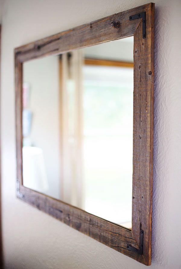 reclaimed wood mirror purchased on etsy pinchofyumcom