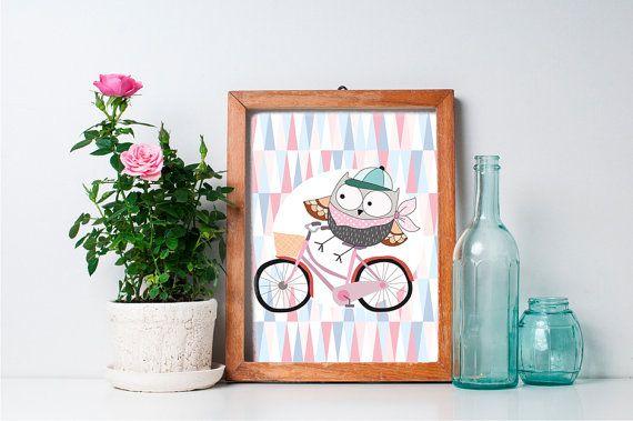 75% OFF SALE - Owl Nursery Decor - 8x10 Baby Girl Owl Nursery Art, Nursery Wall Decor, Woodland Nursery Decor, Woodland Creature