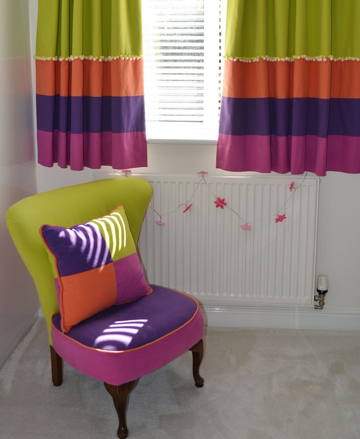 Fantastic original creation for a #baby #nursery - wonderful colours, vibrant! #curtains #cushions www.ashley-interiors.co.uk
