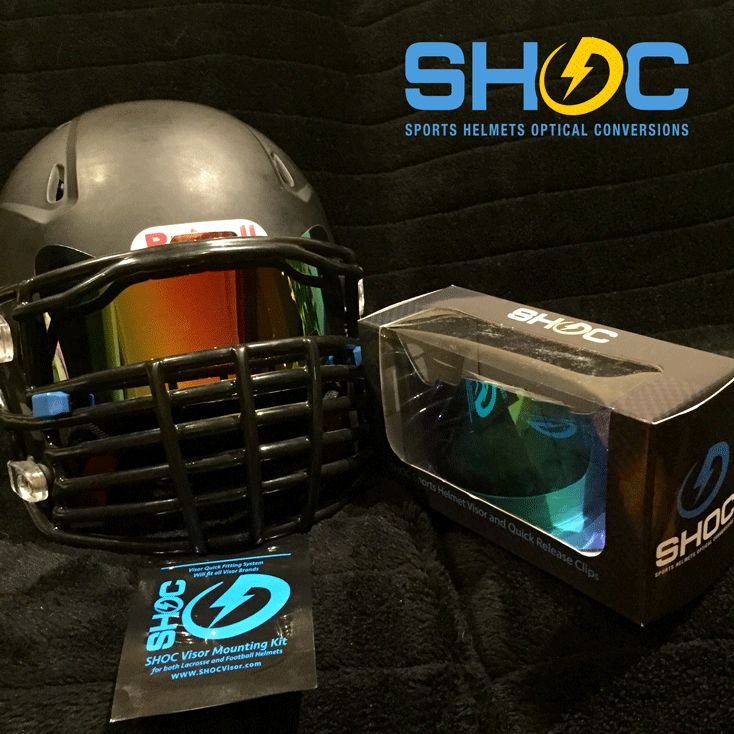 The SHOC Visor in Red Iridium. The First Sports Helmet Visor made to fit BOTH Lacrosse and Football Helmets. Here on display in an awesome Matte Black Riddell Revolution Speed 360 with a BIG GRILL Facemask from GreenGridiron. Get your SHOC Visor today at www.SHOCVisor.com
