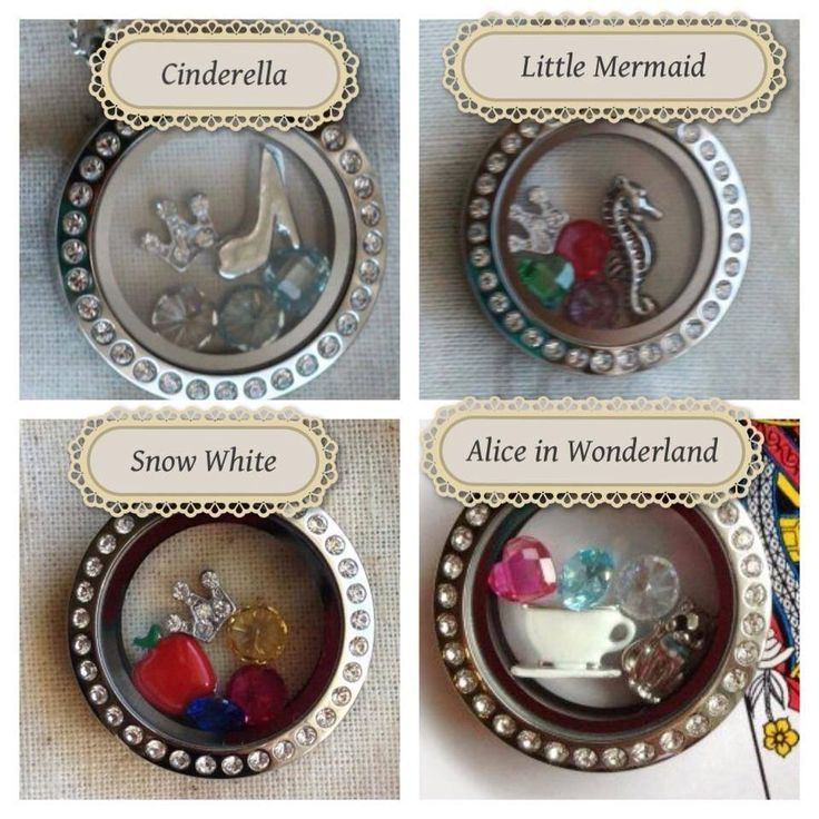 Disney #Princess Origami Owl Lockets Cinderella - Snow White - Little Mermaid - Alice in Wonderland