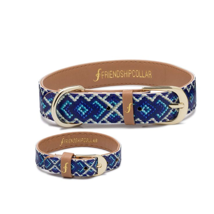 DETAILS+ Calling all mucky pups! In bright blue, this classic friendship bracelet inspired printed pattern is the perfect way to show off your friendship. A collar for your pet and a matching bracelet