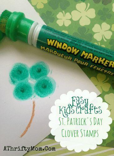 Shamrock Prints  Easy Kids Crafts DIY: Clover Stamps for St Patricks Day