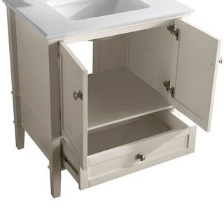 WYNDENHALL Windham Soft White 2-door 36-inch Bath Vanity Set with Bottom Drawer and White Quartz Marble Top - 14311910 - Overstock.com Shopping - Great Deals on WyndenHall Bathroom Vanities