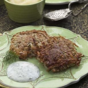 Crispy Potato Latkes  It is a holiday tradition to fry latkes in hot oil, but here shredded potato-and-onion pancakes get a coating of matzo crumbs, are pan-fried in a small amount of oil and finished in a hot oven for a few minutes. The golden-crisp results have only 4 grams of fat and 100 calories per serving—truly a miracle.