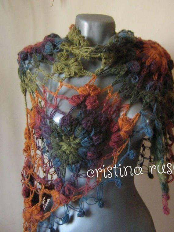 Crochet  Color ShawlMohair shawl ScarfTriangle Shawl