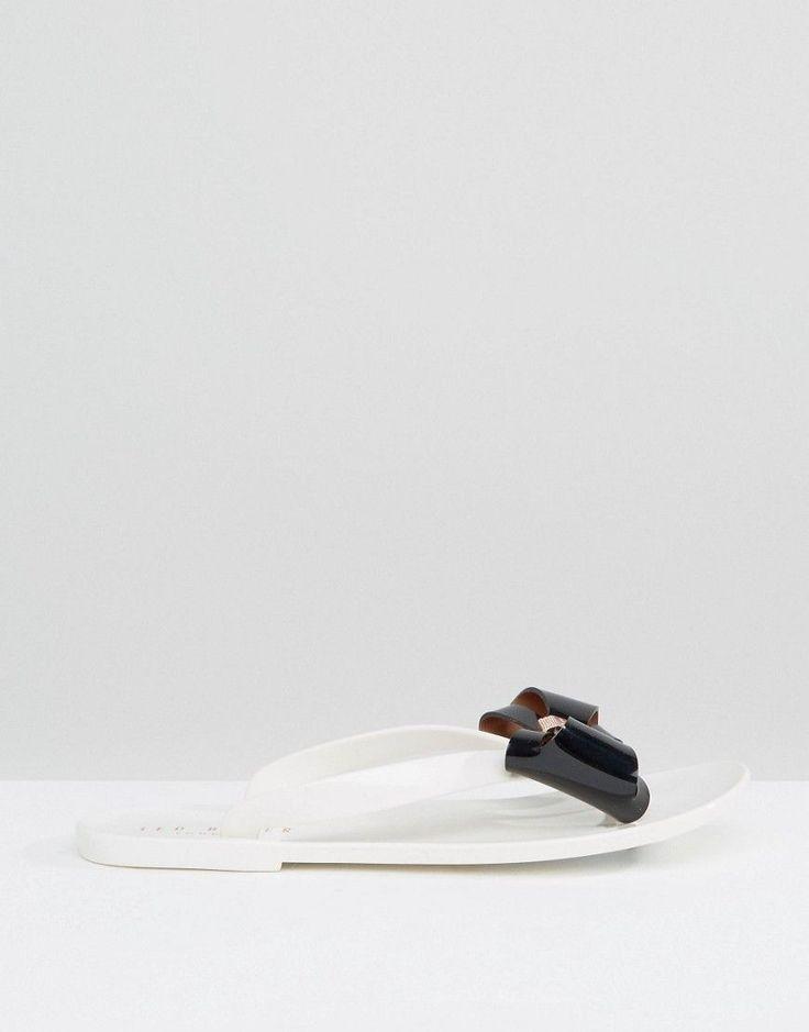 Ted Baker Rafeek Bow Cream Flip Flops - Cream