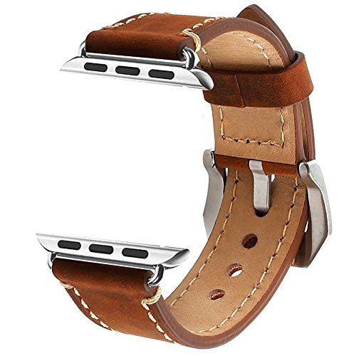 nice Apple Watch 42mm Correa, ZRO Vendimia Cuero Genuina Reemplazo Correa de Reloj con Seguro Cierre de Metal Hebilla para Apple iWatch Serie 2/ Serie 1