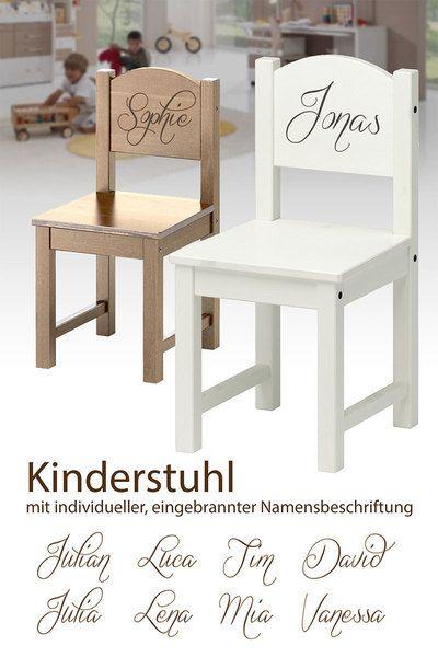 Stühle - Kinderstuhl Holz mit ind. Namen Kinder Stuhl - ein Designerstück von Weddstyle bei DaWanda