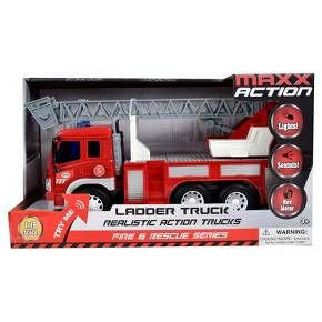 Maxx Action Fire Rescue Ladder Truck - LED lights and electronic sounds. High quality realistic styling. Soft rubber tires. Ladder will extend and Swivel. Rev flywheel motor