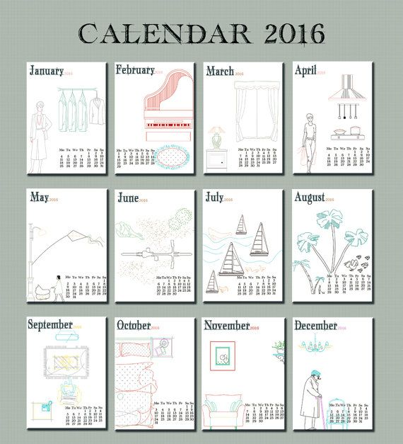 2016 Calendar,printable, 2016 printable desk calendar,12months calendar, gift for architects, digital DIY 2eggsProject, INSTANT DOWNLOAD.  This