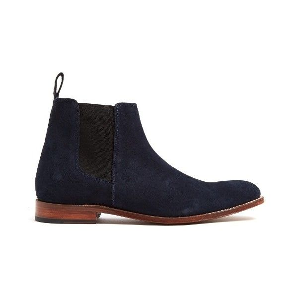 Grenson Declan suede chelsea boots (£230) ❤ liked on Polyvore featuring men's fashion, men's shoes, men's boots, navy, shoes, mens navy suede shoes, mens suede shoes, mens navy blue suede shoes, mens navy blue boots and navy blue mens shoes