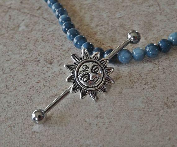 Sun Industrial Barbell 14ga Body Jewelry Ear Jewelry Double Piercing