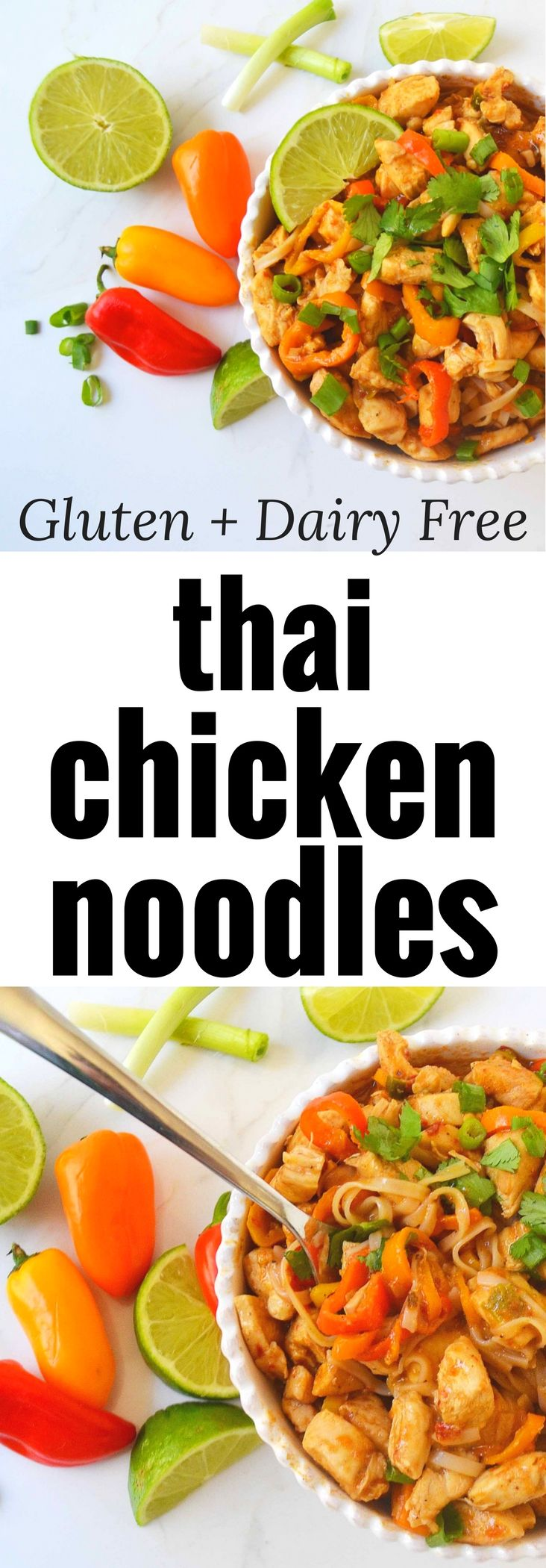 Thai Chicken Noodles are a healthy dinner made in less than 30 minutes. Gluten-free and Dairy-Free dinner is full of flavor. A family favorite!
