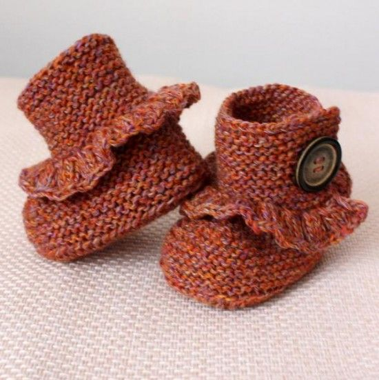 Buttoned Baby Booties Knitting Pattern