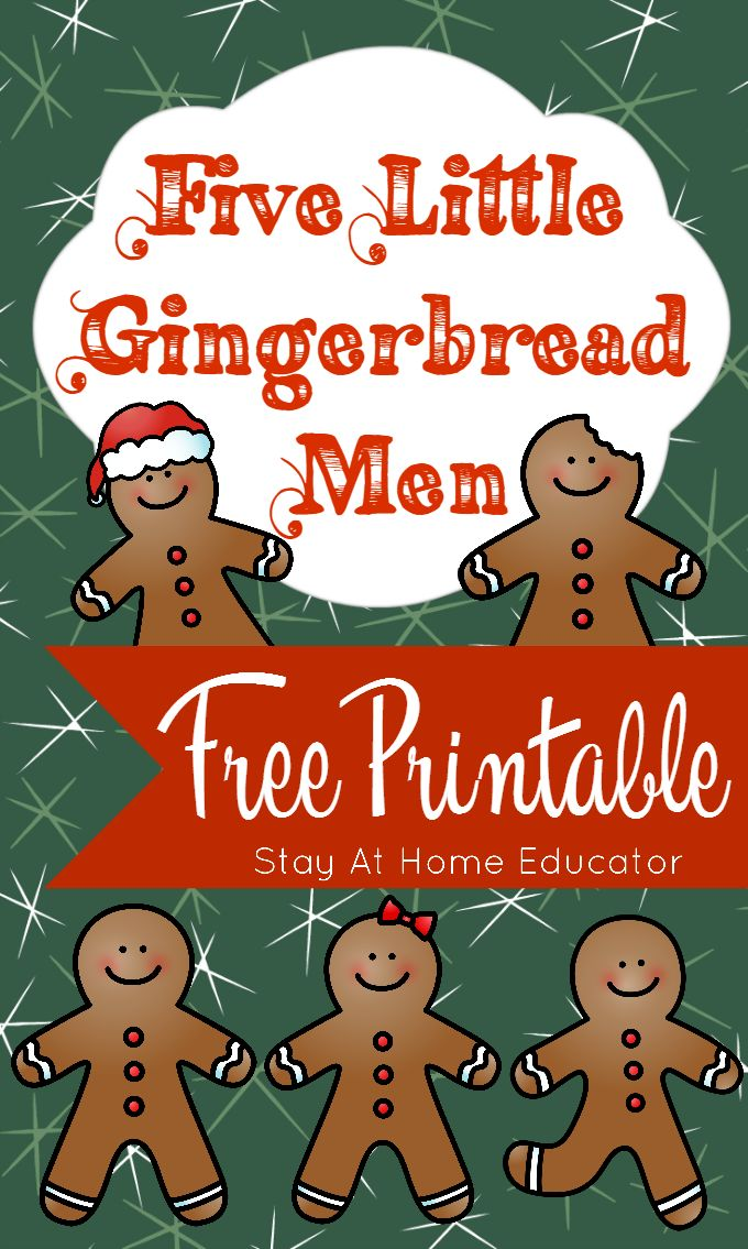 Five Little Gingerbread Men Free Printable