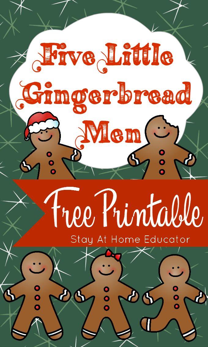 Five Little Gingerbread Men Free Printable