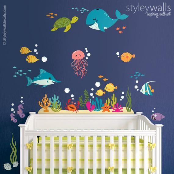 Underwater Wall Decal Fishes Wall Decal Sticker Ocean Wall Sticker Sea Life Creatures Wall Decal Aquarium Wall Decal For Nursery Decor In 2021 Kinder Wandmalereien Kindergarten Wandtattoos Und Kinderzimmer Dekor