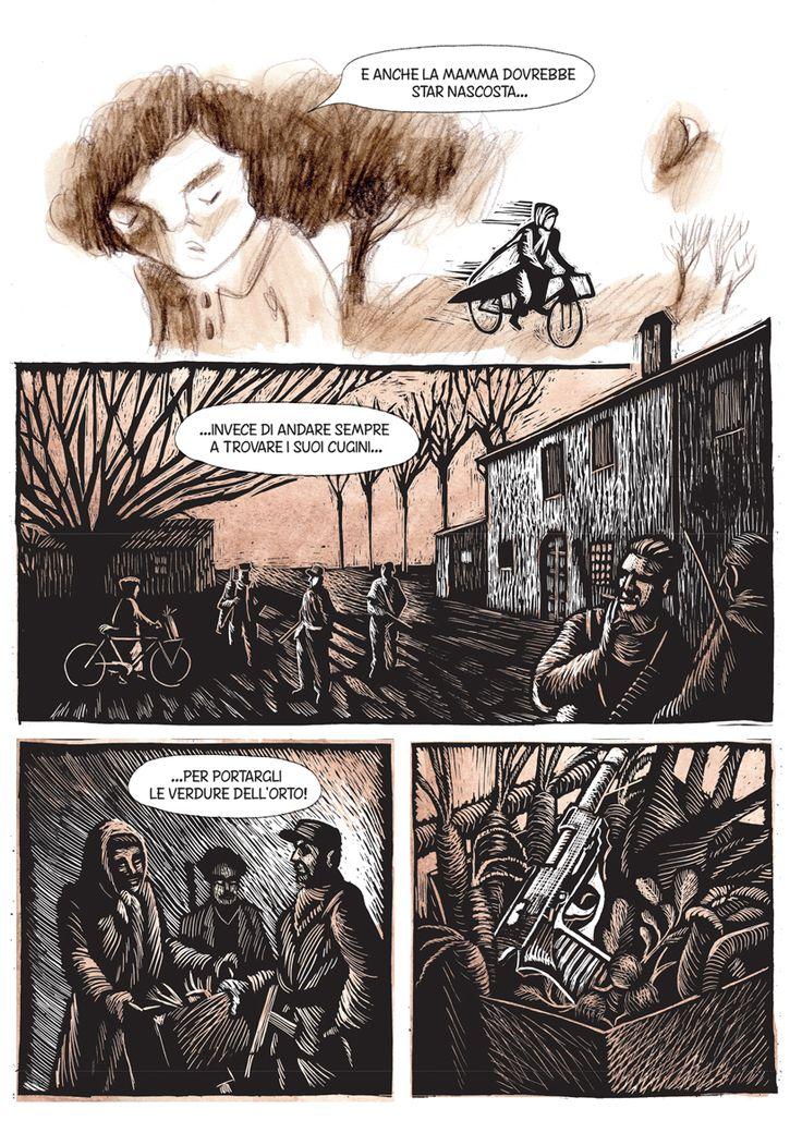 Tavola da L'ARGINE un fumetto di Marina Girardi e Rocco Lombardi prodotto dal Museo Varoli
